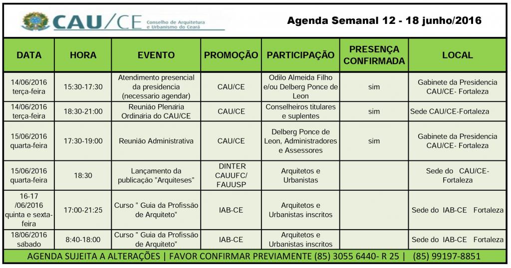agenda 12-18 junho