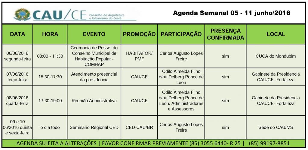 agenda semanal 05-11 junho