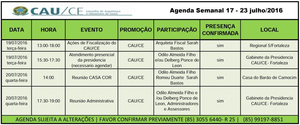 agenda 17-23 julho