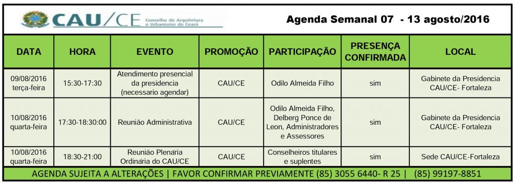 agenda 7-13 agosto